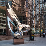 Sculpture Pas de Trois in Toronto. Stainless steel sculpture Pas de Trois in Toronto. It was created by Russell Jacques in 1984 and it resides in front of an Royalty Free Stock Images