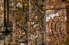 Sculpture. Patterns carved tomb outside the walls of My Son Sanctuary Royalty Free Stock Images