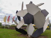 A sculpture of pentagons and hexagons on display at IKEA retail store royalty free stock images
