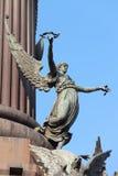 Sculpture of Pheme at Columbus Monument in Barcelona Stock Photos