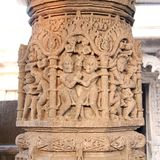 Sculpture on pillars of Modhera Sun Temple Royalty Free Stock Images