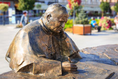 Sculpture of Pope John Paul II in the city center of Wadowice Stock Photo