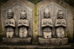 Sculpture of praying peoples. Nepal Royalty Free Stock Images