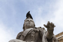Sculpture of Queen Victoria with pigeon in capital of Malta- Val Stock Image