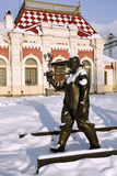 Sculpture of railway worker in front of Railway museum in Yekaterinburg, Russia Royalty Free Stock Photography