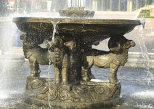 Sculpture of rams in the fountain. Kyzyl. Stock Photo