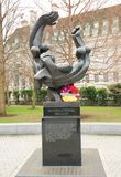 Sculpture in recognition of The International Brigade, a group of people who fought with the spanish against Facism. 2018. Sculpture depicting The International royalty free stock photos