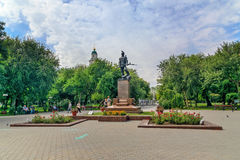 Sculpture Red Army soldiers in Astrakhan. Astrakhan, Russia - September 06, 2016: Sculpture Red Army soldiers on mass grave in Park Fraternal Garden Stock Image