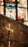 Ο διαγώνιος Ιησούς Sculpture Religion Στοκ Εικόνες
