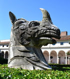 Sculpture of a rhinoceros head in Michelangelo courtyard of the National Museum of Rome Stock Images