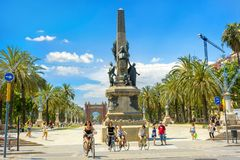Sculpture Rius i Taulet and  Arc de Triomf in the background. Ba. BARCELONA, SPAIN - MAY 28, 2015: Monument with sculpture Rius i Taulet and view of Arc de Royalty Free Stock Photography