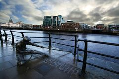 Sculpture on River Liffey stock photography