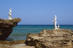 Sculpture on rock, Zakynthos island Stock Image