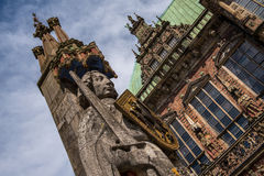 Sculpture of Roland, Bremen, Germany. The Bremen Roland is a statue of Roland, erected in 1404. It stands in the market square of Bremen, Germany, facing the Stock Photos
