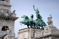 Sculpture on the roof of the Museum of Ethnography. In Budapest Royalty Free Stock Photos