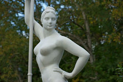 Sculpture of a rower woman with a paddle Stock Image