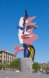 Sculpture Roy Lichtenstein Face of Barcelona Stock Photography
