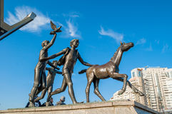 Sculpture Running children near the Pionerskaya metro station in St Petersburg, Russia Stock Photo