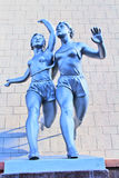 Sculpture of  running women. Retro sculpture of  running women Royalty Free Stock Image