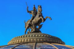 Sculpture of Saint George the Victorious on the dome of World Clock Fountain in Moscow Stock Photo