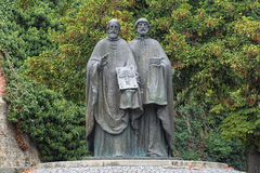 Sculpture of Saints Cyril and Methodius in Nitra, Slovakia. Sculpture of Saints Cyril and Methodius on the Pope John Paul II square at the Nitra Castle, Slovakia Stock Image