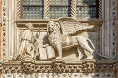 Sculpture San Marco with Winged Lion Royalty Free Stock Photos