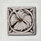 Sculpture  sandstone of hibiscus Stock Photography