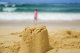 Sculpture on sandy beach Royalty Free Stock Image
