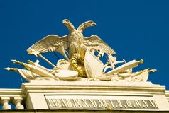 Sculpture Schoenbrunn Palace. Decorative sculpture and artwork on the roof of Schoenbrunn Palace, Vienna, Austria royalty free stock photography
