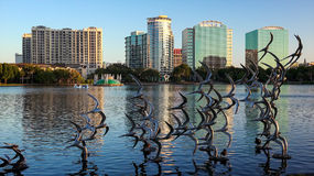 Sculpture of Seagulls Taking Flight at Lake Eola in Orlando, Flo Royalty Free Stock Photography