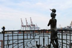 Sculpture Seaman`s wife in Odessa seaport Royalty Free Stock Photo