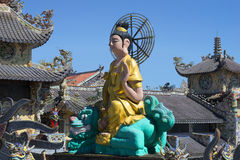 Sculpture of a seated Buddha on the temple Pagoda Linh Phuoc Stock Photos
