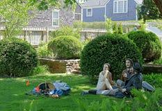 The sculpture of Seward Johnson Monet, Luncheon on the Grass in Hadwen House Garden, Nantucket, Massachusetts stock images