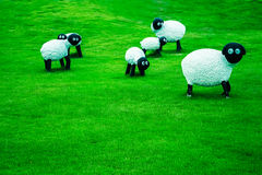 Sculpture sheep on the lawn. Backgrounds general illustration Royalty Free Stock Images