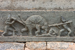 Sculpture showing killing of a mad elephant with spears Stock Photography