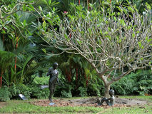Sculpture. Singapore - July 2016.    Sculpture in the Singapore Botanic Gardens of a lady watering the plants with a little girl looking on Royalty Free Stock Photos