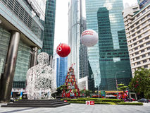 Sculpture Singapore soul from Jaume Plensa in the financial Cent Royalty Free Stock Image
