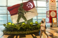 Sculpture of the Singaporean soldier at Changi airport. Made of plants and flowers at background of state flag Royalty Free Stock Photography