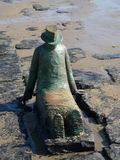 Sculpture. Sits in the ocean at the coast of north Belgium Royalty Free Stock Photo