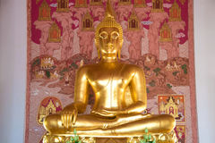 The sculpture of a sitting Buddha in Buddhist temple. Thailand Royalty Free Stock Image