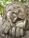 Sculpture of sleeping lion Stock Image