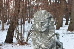 The sculpture of the small sphinx with a woman`s face at the entrance to the city park in Svetlogorsk Rauschen. Stock Photography