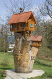 Sculpture of a small wooden house Royalty Free Stock Images