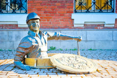 Sculpture smiling male plumber in Rybinsk. Russia Royalty Free Stock Photo
