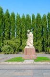 Sculpture Sorrowful Mother in Treptow Park, Berlin, Germany. BERLIN, GERMANY - SEPTEMBER 5, 2018: Sculpture `Sorrowful Mother` in Treptow Park, Berlin, Germany royalty free stock images