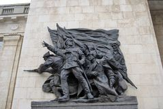 A sculpture of soviet soldiers. Royalty Free Stock Images