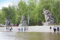 Sculpture of Soviet soldiers in Heroes square in Volgograd Stock Images