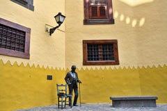 Sculpture of Spanish composer and writer, Nestor Alamo, Las Palm. Las Palmas, Gran Canaria, Spain - Feb 28, 2014: Bronze sculpture of Spanish composer and writer royalty free stock images
