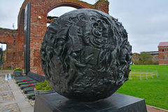 Sculpture sphere with military scenes of defenders of Great Patriotic War in Fortress Oreshek near Shlisselburg, Russia Stock Photos