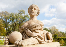 Sculpture of a sphinx on the Big terrace of Massandra of the palace Stock Images